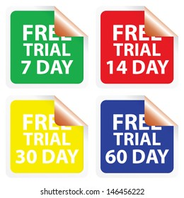Free trial 7 days, 14 days, 30 days and 60 days stickers. Vector.