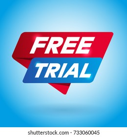 FREE TRIAL arrow colored tag sign.