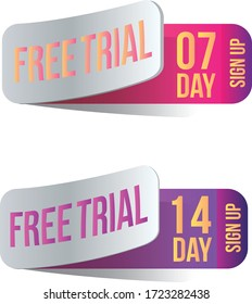Free trial badges. 7 and 14 day stickers. Vector illustration