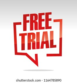 Free trial in brackets speech red white isolated sticker icon