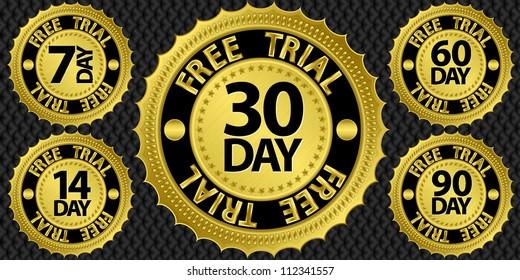 Free trial golden sign set, vector illustration