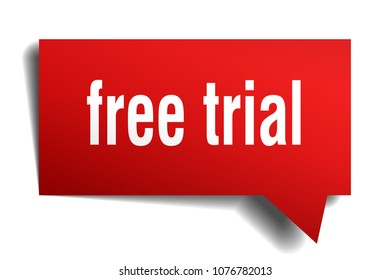 free trial red 3d square isolated speech bubble