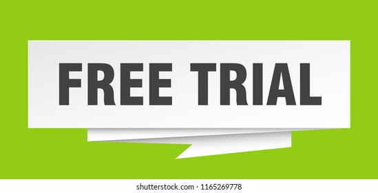free trial sign. free trial paper origami speech bubble. free trial tag. free trial banner