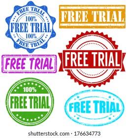 Free trial vintage grunge rubber stamps set on white, vector illustration