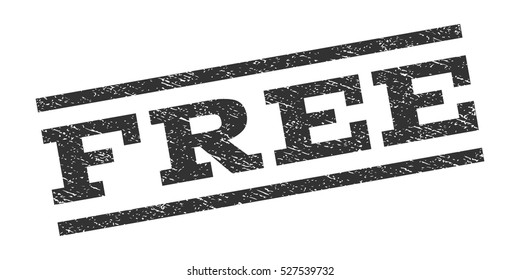Free watermark stamp. Text tag between parallel lines with grunge design style. Rubber seal stamp with scratched texture. Vector gray color ink imprint on a white background.