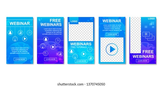 Free Webinar with Icons Set of Templates for Social Media. Concept of Online Distant Education Banners Vector Illustration. Webcast, Livestream, Online Event. Real-time Collaboration via Internet.