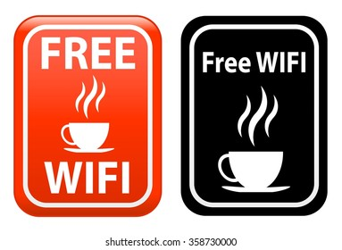 free WiFi and coffe area information sign isolated on white background
