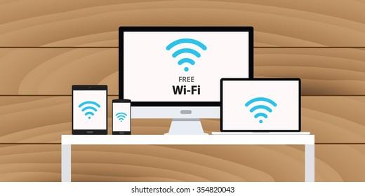 free wifi wi-fi concept multi platform device smartphone computer pc desktop tablet