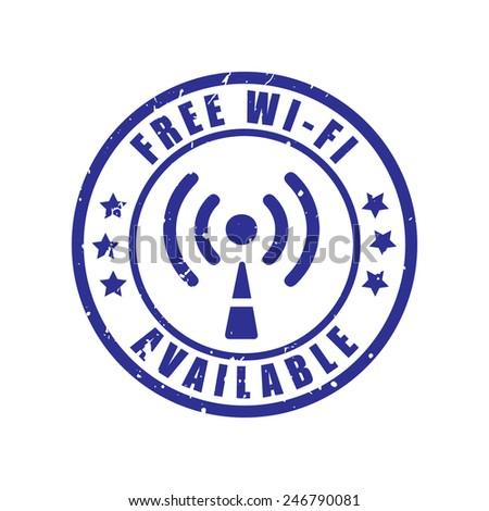 Free Wifi Grunge Stamp Vector Illustrator Stock Vector (Royalty Free