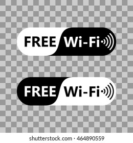 Free wifi icon symbol. Vector wifi sign with black and white background. Wireless Network icon for wlan free access design on transparent background.