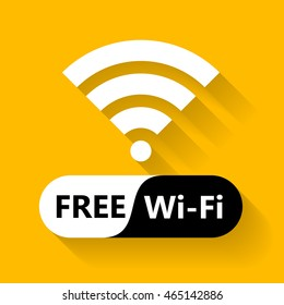 Free wifi icon symbol. Vector wifi sign with wave signal icon on orange background