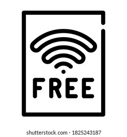 free wifi plate line icon vector. free wifi plate sign. isolated contour symbol black illustration