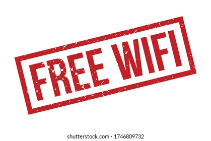 Free Wifi Rubber Stamp. Red Free Wifi Rubber Grunge Stamp Seal Vector Illustration - Vector