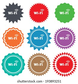 Free wifi sign. Wifi symbol. Wireless Network icon. Wifi zone. Stars stickers. Certificate emblem labels. Vector
