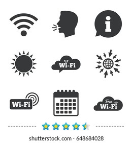 Free Wifi, Wireless Network cloud speech bubble icons. Wi-fi zone sign symbols. Information, go to web and calendar icons. Sun and loud speak symbol. Vector