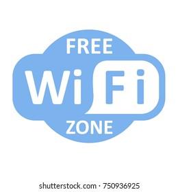 Free wifi zone blue icon. Isolated blue illustration on white background