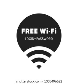 Free wi-fi zone vector icon. Public free wifi wlan hotspot sticker with login and password template