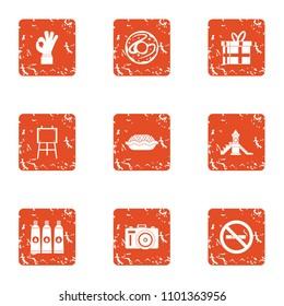 Freebie icons set. Grunge set of 9 freebie vector icons for web isolated on white background