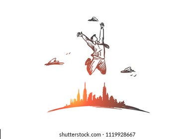 Freedom, businessman, luck, happy, free concept. Hand drawn businessman jumping far from city concept sketch. Isolated vector illustration.