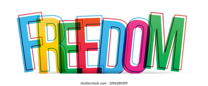 Freedom colorful word. Vector illustration.