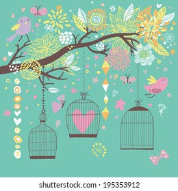 Freedom concept card. Birds out of cages. Romantic floral background in bright colors. Spring birds flying on the branch
