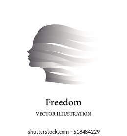 Freedom concept with female face consisted of grey ribbons