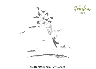 Freedom concept. Hand drawn person flying with birds. Emotion of freedom and happiness isolated vector illustration.
