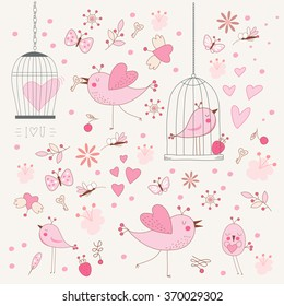 Freedom concept of love in a cage. Bird singing about love in a locked cage. Doodle background of birds , flowers, leaves, mosquitoes. Romantic floral background. Vector illustration