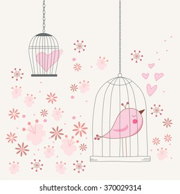 Freedom concept of love in a cage. Bird singing about love in a locked cage. Romantic floral background. Vector illustration