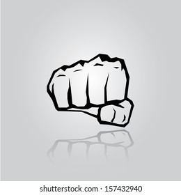 freedom concept. vector fist icon. fist silhouette on stylish grey background.