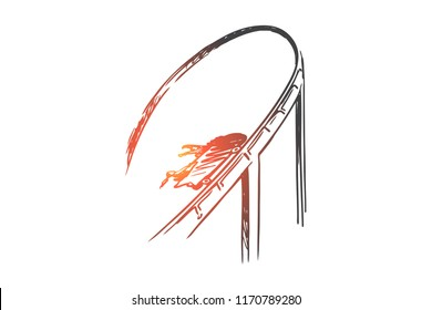 Freedom, extreme, risk, pleasure, speed concept. Hand drawn rollercoaster as symbol of fun and speed concept sketch. Isolated vector illustration.