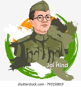 Freedom Fighter and National Hero of India Netaji Subhash Chandra Bose. Vector illustration