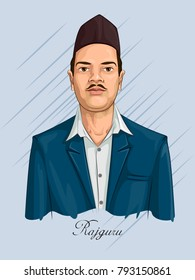 Freedom Fighter and National Hero of India Rajguru. Vector illustration