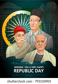 Freedom Fighter and National Hero of India Sardar Vallabhbhai Patel, Bal Gangadhar Tilak and Vir Savarkar. Vector illustration