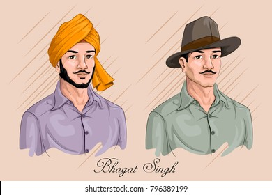Freedom Fighter and National Hero of India Bhagat Singh. Vector illustration