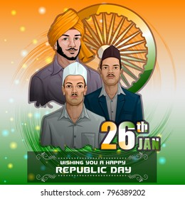 Freedom Fighter and National Hero of India Bhagat Singh, Rajguru and Sukhdev. Vector illustration