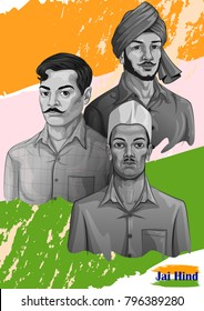 Freedom Fighter and National Hero of India Bhagat Singh, Chandra Shekhar Azad and Sukhdev. Vector illustration