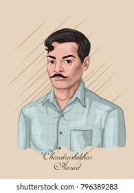 Freedom Fighter and National Hero of India Chandra Shekhar Azad. Vector illustration