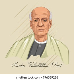 Freedom Fighter and National Hero of India Sardar Vallabhbhai Patel. Vector illustration