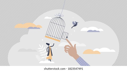 Freedom gaining by release from capture and fly away tiny persons concept. Figuratively scene with moment of bird getaway from captivity as symbol of independence and liberty vector illustration.