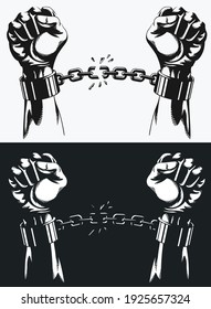 Freedom hand breaking from handcuff chains silhouette drawing in transparent background illustration