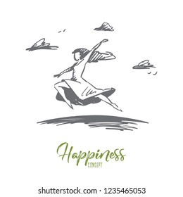 Freedom, happiness, woman, fly, love concept. Hand drawn happy free woman jumping and flying concept sketch. Isolated vector illustration.