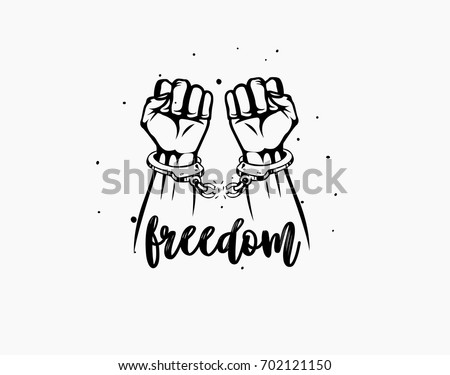 Freedom Icon Broken Chain Handcuff Hand Posture Sketch Free From Slavery