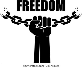 Freedom icon. Human hands and broken chain .Freedom concept. Vector illustration
