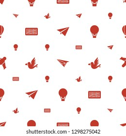 freedom icons pattern seamless white background. Included editable filled paper plane, air balloon, equalizer, love bird, hang glider icons. freedom icons for web and mobile.