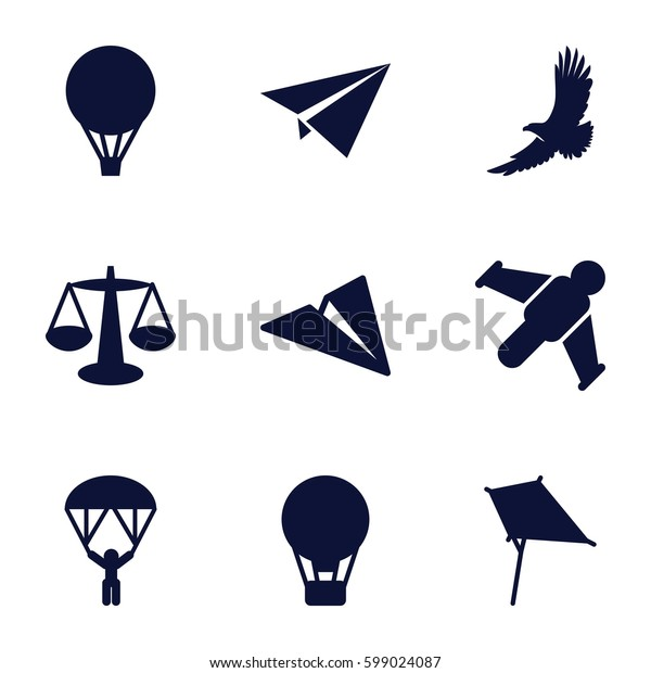 freedom icons set. Set of 9 freedom filled icons such as eagle, kite, air balloon, man with parachute, paper plane, hang glider