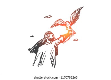Freedom, Islam, lifestyle, fascination concept. Hand drawn muslim man with hawk on hand concept sketch. Isolated vector illustration.