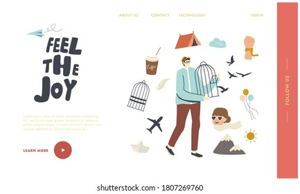 Freedom Landing Page Template. Male Character Hold Open Metal Cage with Swallows Flying Out Leaving Imprisonment. Overcome Lockdown Limitations, Cell Escape, Emancipation. Linear Vector Illustration - Shutterstock ID 1807269760