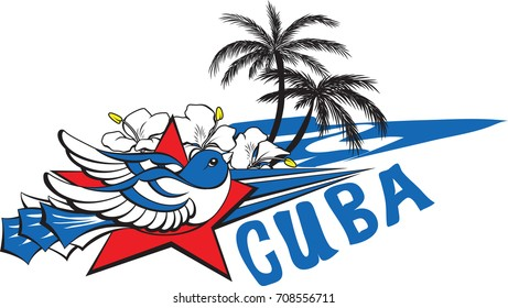 Freedom and liberty symbol - blue cuban bird, red star, flowers, sea and palms.