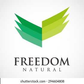Freedom natural green grass line leaf logo element design vector shape icon symbol business template company
